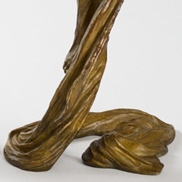 Gustav Gurschner Austrian Jugendstil Bronze Candlesticks In Excellent Condition For Sale In New York, NY