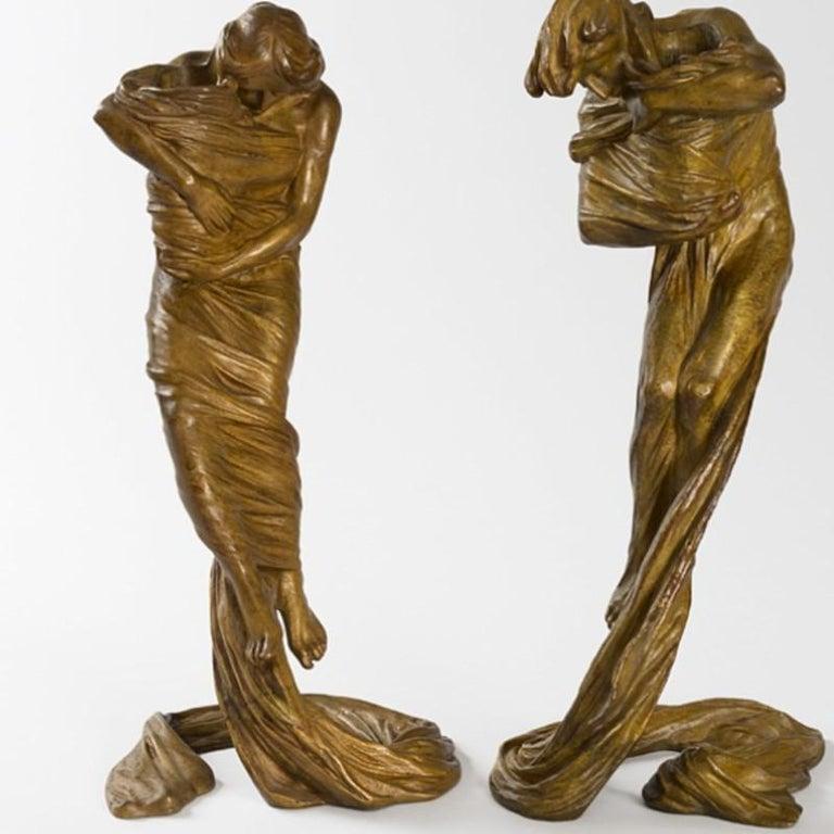 20th Century Gustav Gurschner Austrian Jugendstil Bronze Candlesticks For Sale