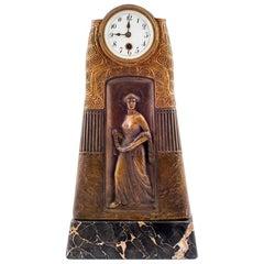 Gustav Gurschner Table Clock Godess of Victory Nike 1913 K. K. Kunstgießerei Vie