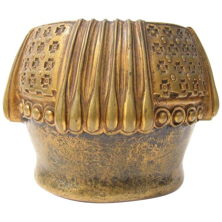 Gustav Gurschner Vienna Secession Bronze Vase For Sale