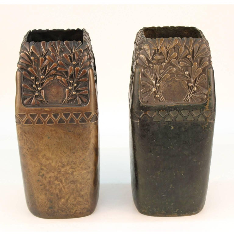 Gustav Gurschner Viennese Secession Bronze Vases In Good Condition For Sale In New York, NY