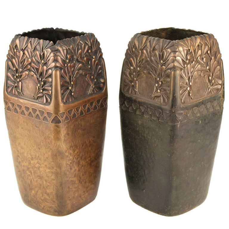 Gustav Gurschner Viennese Secession Bronze Vases For Sale