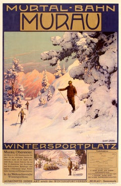 Original Antique Winter Sport & Skiing Poster Murtal Bahn Railway Murau Austria