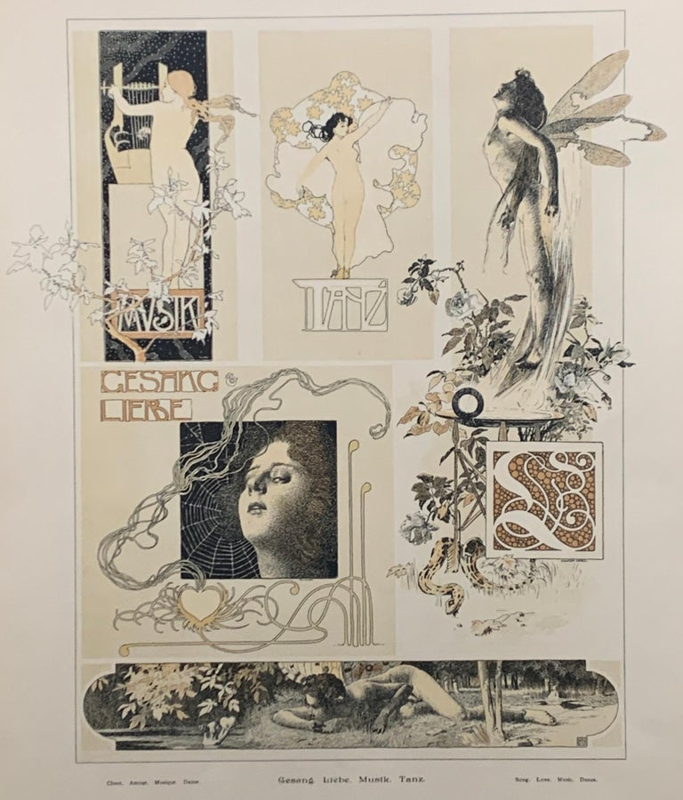 Gustav Klimt, Kolomon Moser, Heinrich Leffler to name a few....  A very rare showcase of Jugendstil art,