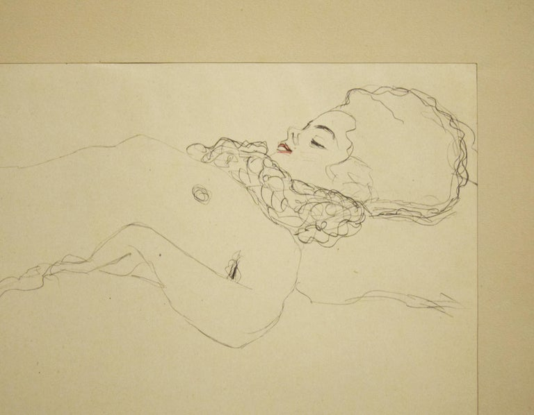 Female Nude Lying with Scarf - 1910s - Beige Nude Print by (after) Gustav Klimt