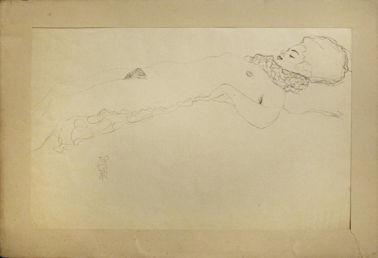 Female Nude Lying with Scarf - 1910s - Modern Print by (after) Gustav Klimt