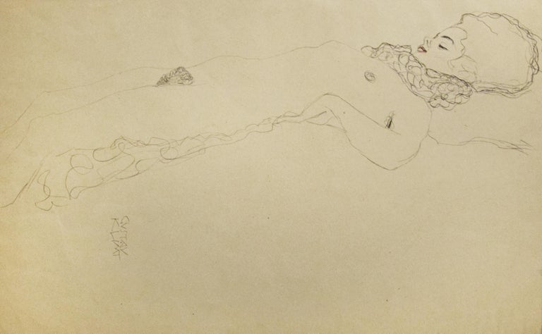 (after) Gustav Klimt Nude Print - Female Nude Lying with Scarf - 1910s