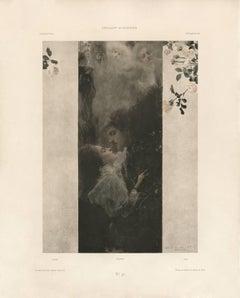 "Gerlach's Allegorien, plate #46: ""Love"" Lithograph, Gustav Klimt."