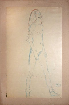 Nude of a Young Girl (Red and blue pencil) - 1910s - Gustav Klimt - Modern Art