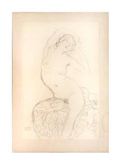 Seated Female Nude - 1910s - Gustav Klimt - Lithograph - Modern Art
