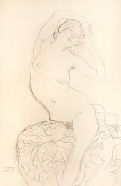Seated Female Nude - 1910s - Gustav Klimt - Lithograph - Modern Art