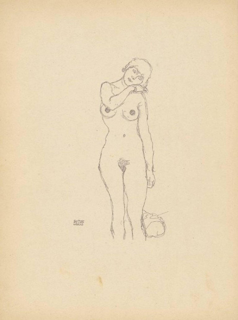 Sketch No. 12 after Gustav Klimt, 1922 lithograph
