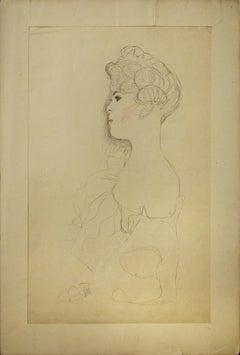 Sketched Portrait - 1910s - Gustav Klimt - Lithograph - Modern Art
