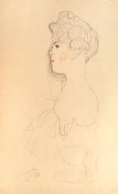 Sketched Portrait - 1910s - Original Collotype Print by Gustav Klimt