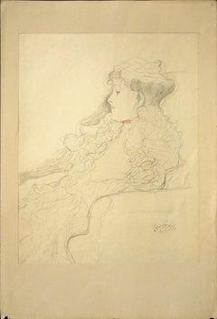 Sketched Portrait: Lady with Scarf  - 1910s - Gustav Klimt - Modern Art