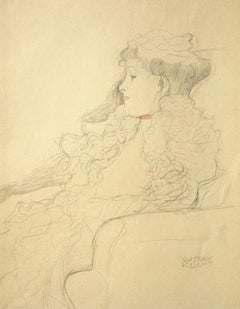 Sketched Portrait: Lady with Scarf  - 1910s