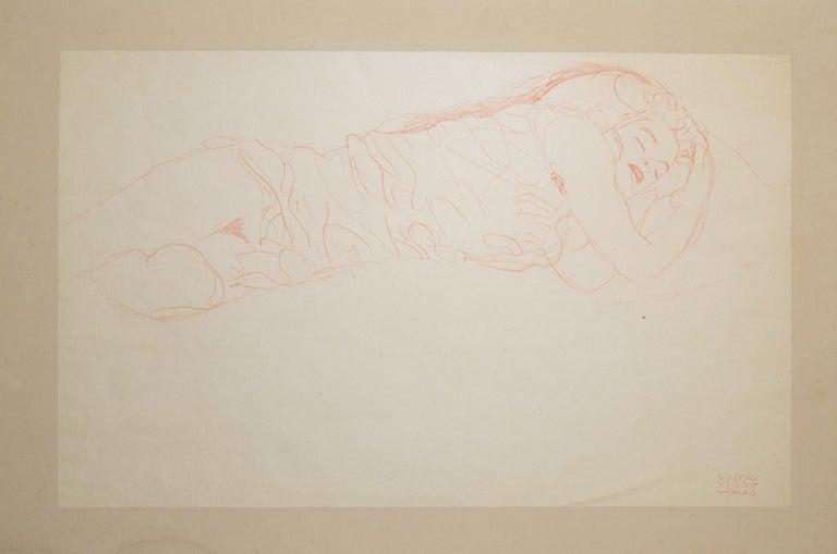 Sleeping Woman - Original Collotype Print - 1919  - Beige Nude Print by (after) Gustav Klimt