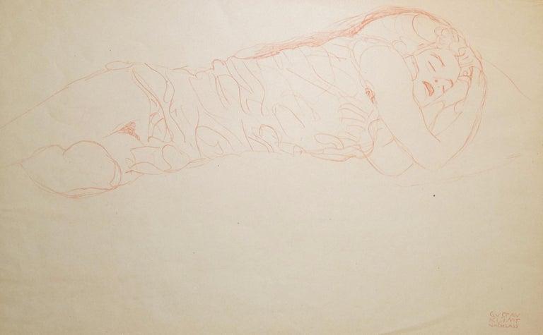 (after) Gustav Klimt Nude Print - Sleeping Woman - Original Collotype Print - 1919