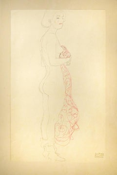 Standing Nude With Scarf (Red tinted) - 1910s - Gustav Klimt - Modern Art