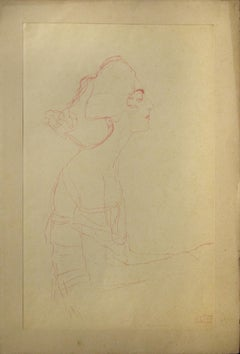 Study of a Bust (Red pencil)  - Orginal Collotype Print - 1919