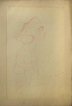 Study of a Bust (Red pencil)  - 1910s - Gustav Klimt - Lithograph -  Modern Art