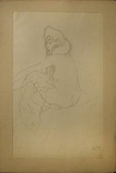"Study on the ""Danae"" - 1910s - Gustav Klimt - Lithograph - Modern Art"