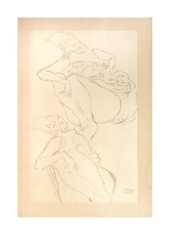 Two Crouching Female Nudes - 1910s - Gustav Klimt - Lithograph - Modern Art