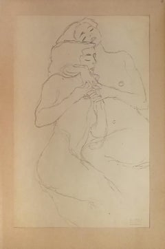Two Embracing Seated Female Nudes - 1910s - Gustav Klimt - Modern Art