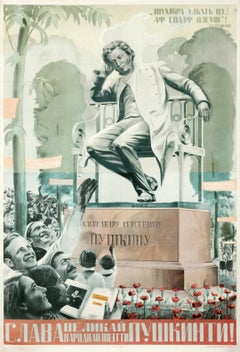 """""""Hail The Great Poet Of The People: Pushkin"""" Soviet Original Vintage Poster"""