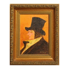 """""""Man with Top Hat"""" Abstract Warm-Toned Portrait Painting of Francisco Goya"""