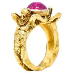 Gustav Manz Art Nouveau 2.85 CTW Star Ruby 14 Karat Gold Atlas Unisex Ring