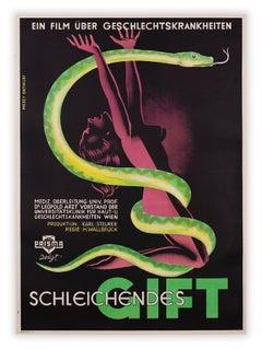 Schleichendes Gift (Creeping Poison) by Gustav Mezey, Snake film poster, 1946