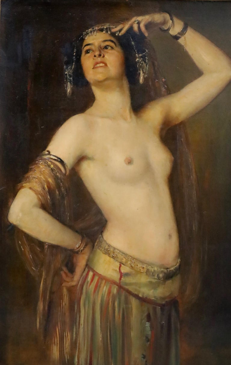 Gustav Rienäcker (German 1861-1935), big painting, oriental dancer, very beautiful Jong half naked dancer, oil on board, signed lower right corner. In original list.