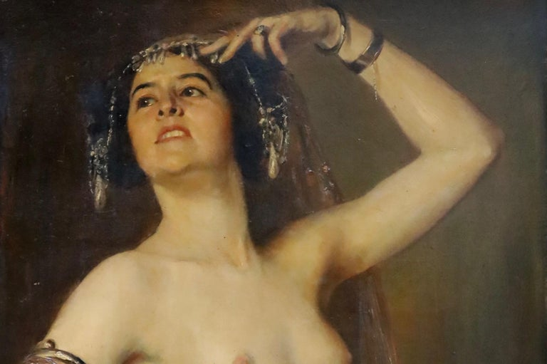 Neoclassical Gustav Rienäcker, Semi-Nude Oriental Dancer, 19th Painting, Germany