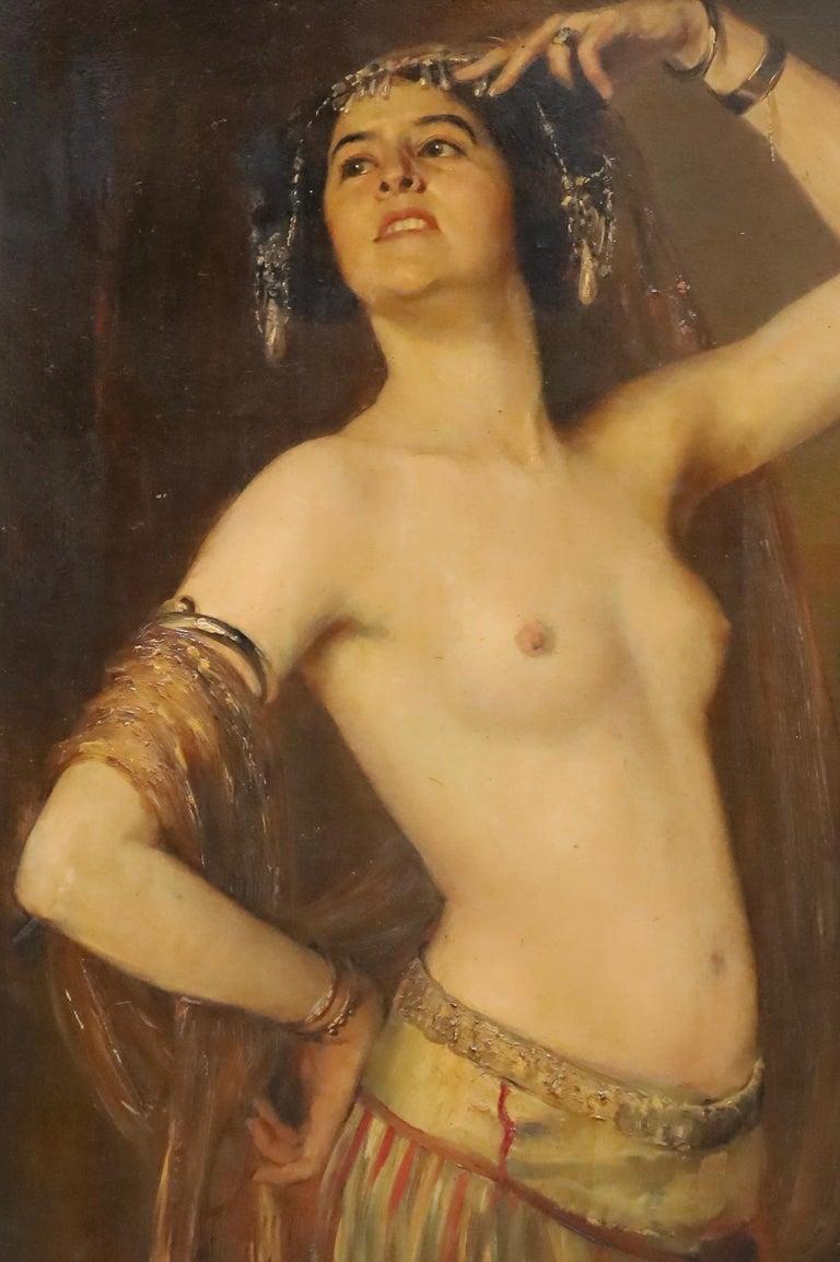 Painted Gustav Rienäcker, Semi-Nude Oriental Dancer, 19th Painting, Germany