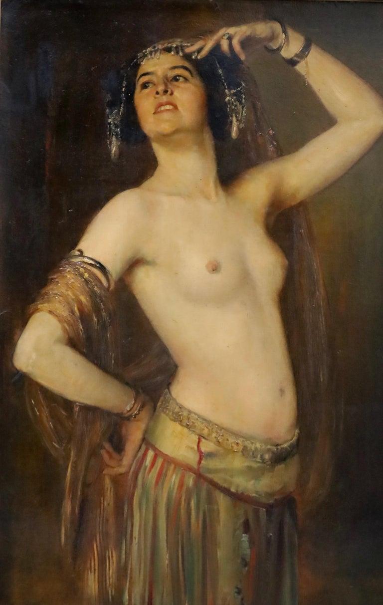 19th Century Gustav Rienäcker, Semi-Nude Oriental Dancer, 19th Painting, Germany