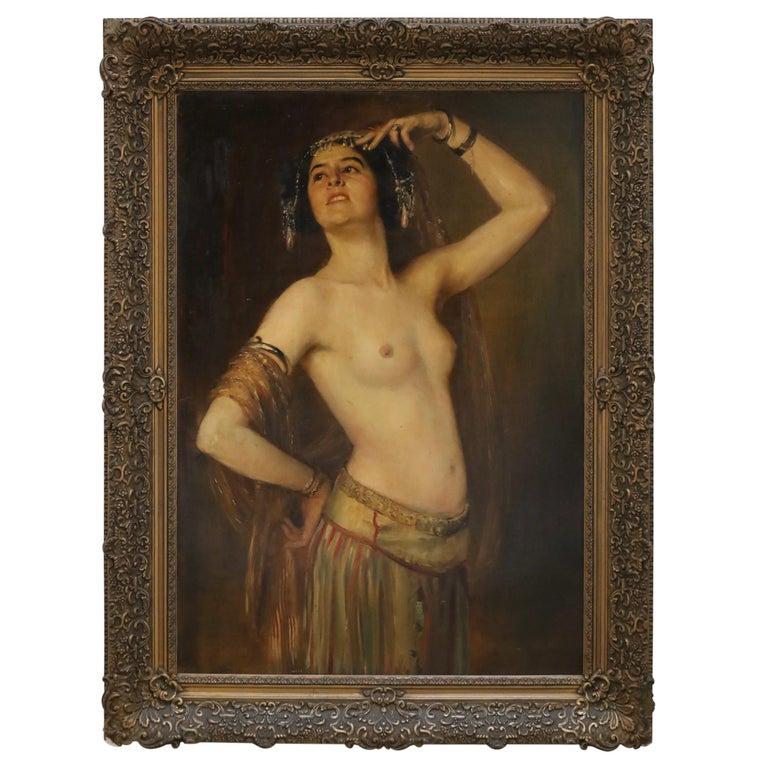 Gustav Rienäcker, Semi-Nude Oriental Dancer, 19th Painting, Germany