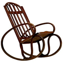 Gustav Siegel, Viennese Secession Rocking Chair, Bentwood, circa 1900