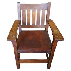 Gustav Stickley 20th Century Slat-Back Armchair with Original Leather Seat