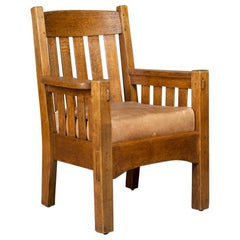 Gustav Stickley Arts & Crafts Oak Armchair by Harden American Mission circa 1905