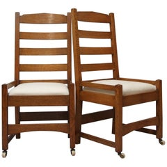 Gustav Stickley Eight Oak American Arts & Crafts Dining Chairs, Design 965
