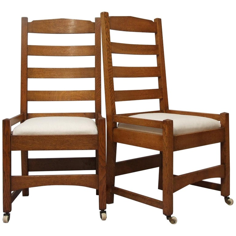 Stickley Dining Room Furniture For Sale: Gustav Stickley Eight Oak American Arts And Crafts Dining