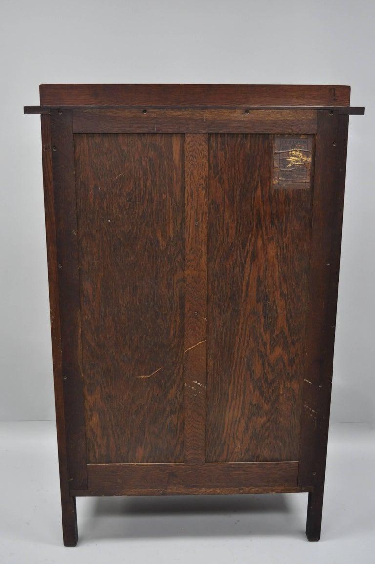 Gustav Stickley Mission Arts Crafts Oak Glass Door China Cabinet Curio Bookcase For Sale 5