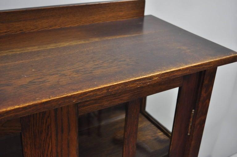 Gustav Stickley Mission Arts Crafts Oak Glass Door China Cabinet Curio Bookcase For Sale 8