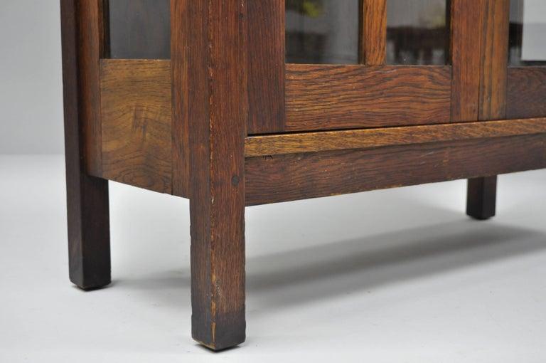 Gustav Stickley Mission Arts Crafts Oak Glass Door China Cabinet Curio Bookcase For Sale 9