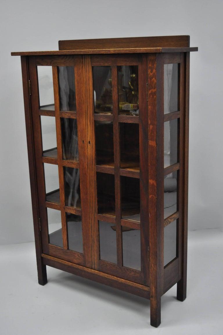 Gustav Stickley Mission Arts Crafts Oak Glass Door China Cabinet Curio Bookcase For Sale 11