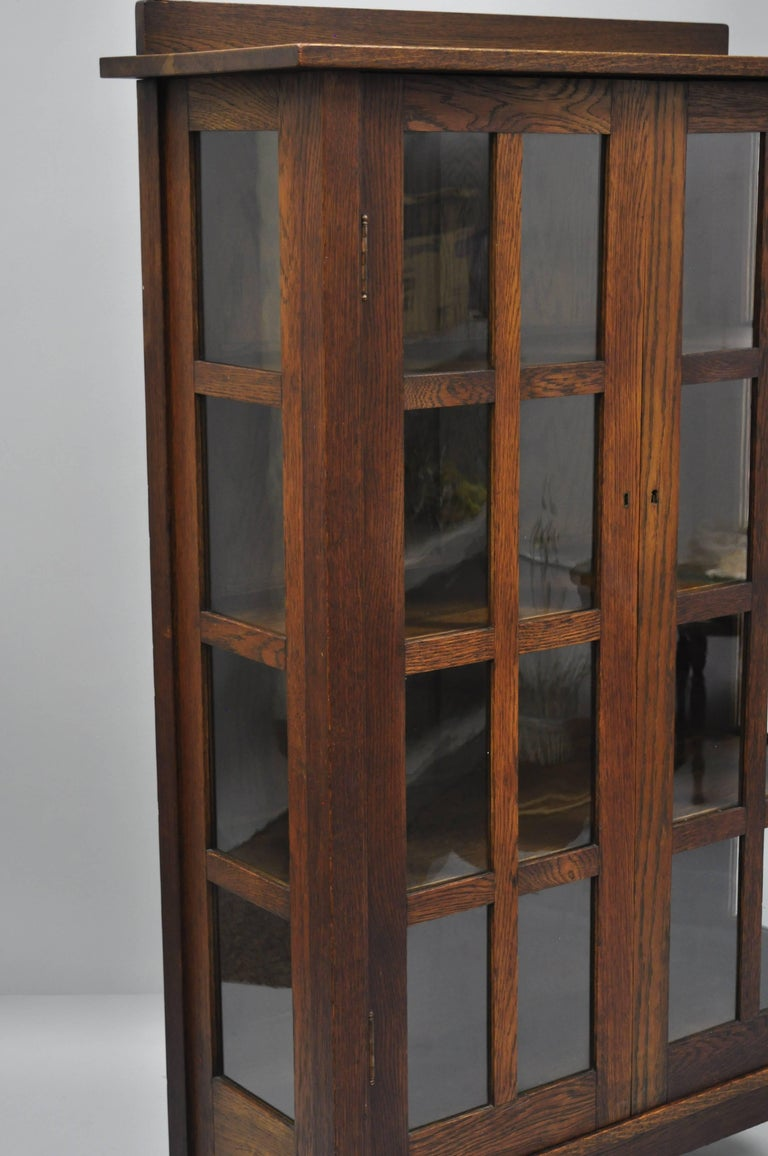Gustav Stickley Mission Arts Crafts Oak Glass Door China Cabinet Curio Bookcase For Sale 1