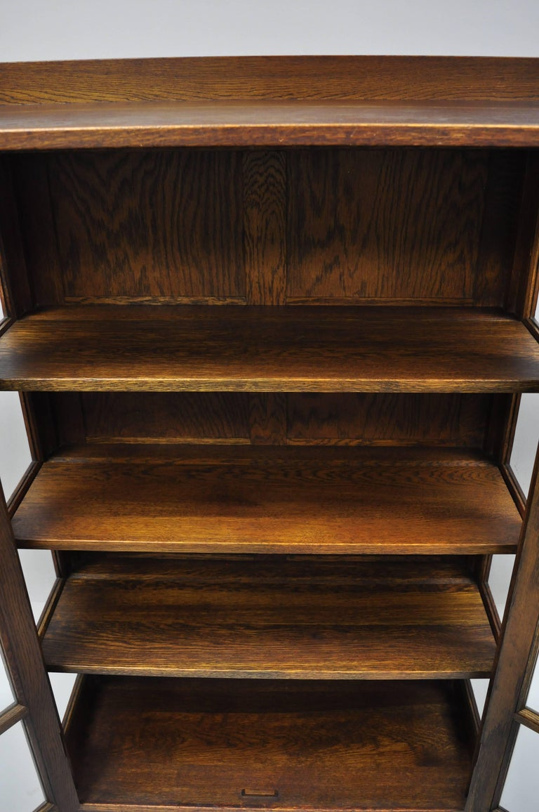Gustav Stickley Mission Arts Crafts Oak Glass Door China Cabinet Curio Bookcase For Sale 2