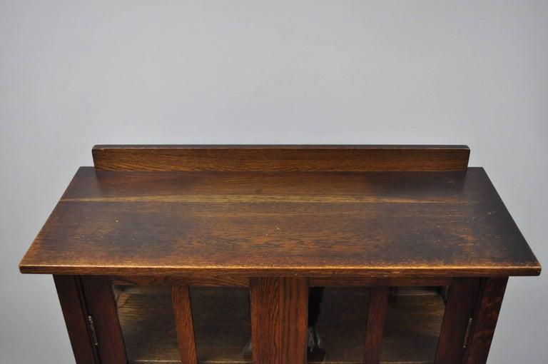 Gustav Stickley Mission Arts Crafts Oak Glass Door China Cabinet Curio Bookcase For Sale 3