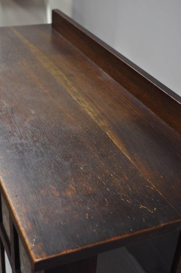 Gustav Stickley Mission Arts Crafts Oak Glass Door China Cabinet Curio Bookcase For Sale 4
